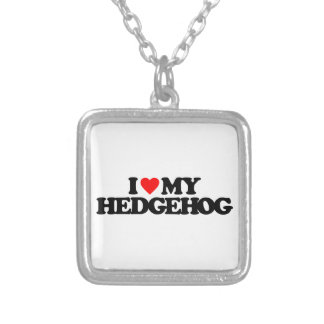 I LOVE MY HEDGEHOG SQUARE PENDANT NECKLACE