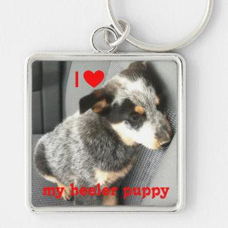 """I love my heeler puppy"" square keychain"