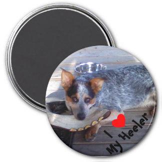 """""""I love my Heeler"""" round magnet"""