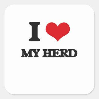 I Love My Herd Square Sticker
