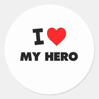 I Love My Hero Classic Round Sticker
