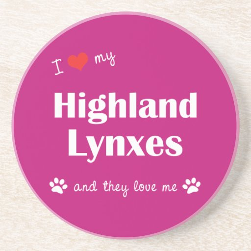I Love My Highland Lynxes (Multiple Cats) Drink Coaster