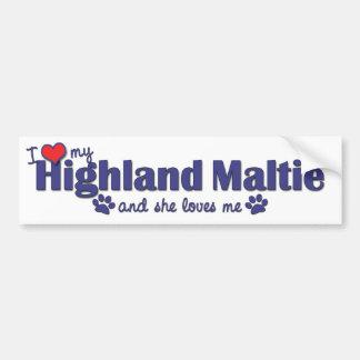 I Love My Highland Maltie (Female Dog) Bumper Stickers
