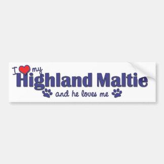 I Love My Highland Maltie (Male Dog) Bumper Sticker