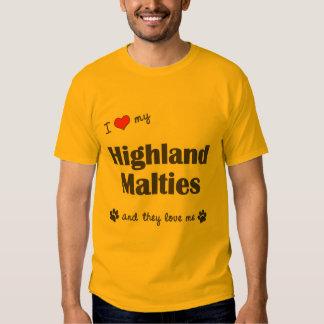 I Love My Highland Malties (Multiple Dogs) Tees