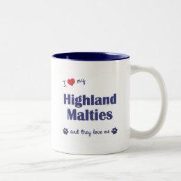 I Love My Highland Malties (Multiple Dogs) Two-Tone Coffee Mug