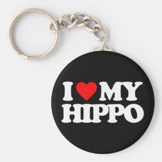 I LOVE MY HIPPO BASIC ROUND BUTTON KEYCHAIN