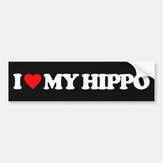 I LOVE MY HIPPO BUMPER STICKER