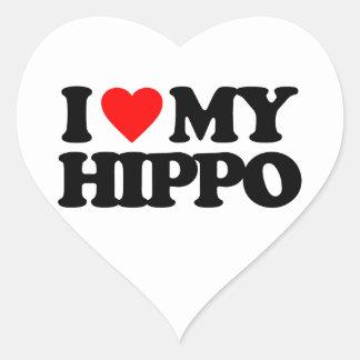 I LOVE MY HIPPO HEART STICKER