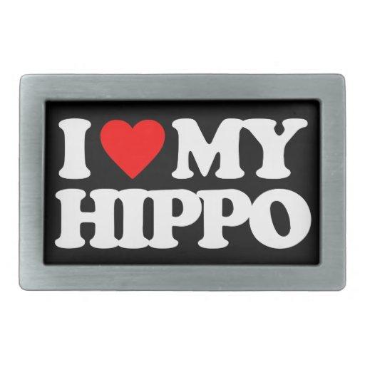 I LOVE MY HIPPO RECTANGULAR BELT BUCKLES