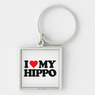 I LOVE MY HIPPO Silver-Colored SQUARE KEYCHAIN