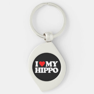 I LOVE MY HIPPO Silver-Colored SWIRL METAL KEYCHAIN
