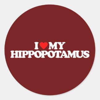 I LOVE MY HIPPOPOTAMUS CLASSIC ROUND STICKER