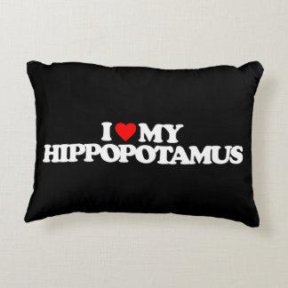 I LOVE MY HIPPOPOTAMUS DECORATIVE PILLOW