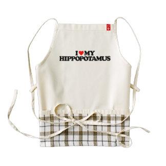 I LOVE MY HIPPOPOTAMUS ZAZZLE HEART APRON