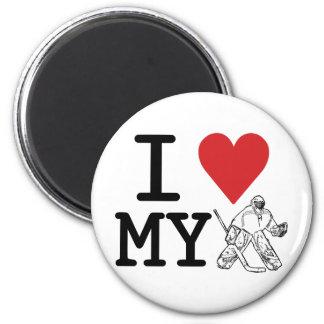 I Love My Hockey Goalie 2 Inch Round Magnet