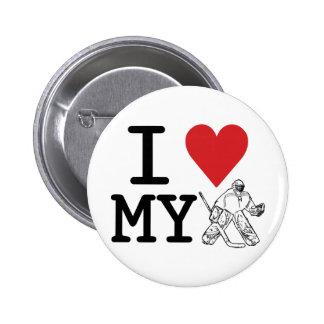 I Love My Hockey Goalie Pinback Button