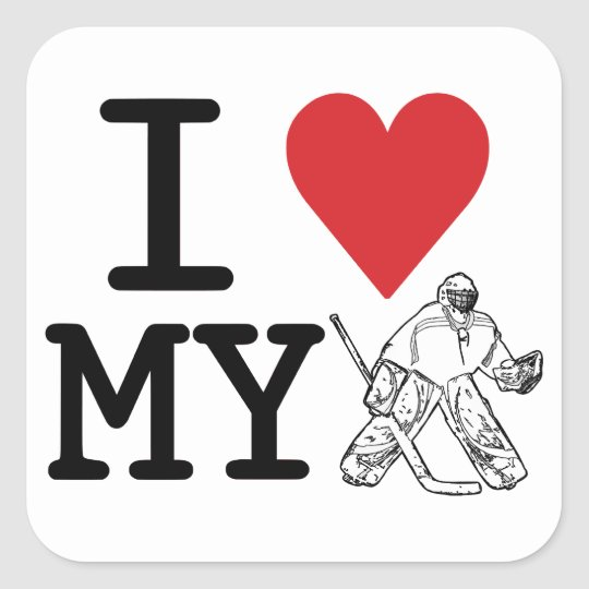 I Love My Hockey Goalie Stickers