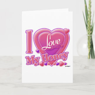 I Love My Honey pink/purple - heart Card