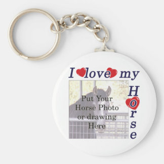 I love my Horse: Add your Photo or Text Basic Round Button Keychain