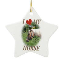 I love my horse ceramic ornament