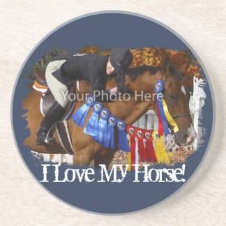 I Love My Horse Photo Template Drink Coaster