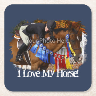 I Love My Horse Photo Template Square Paper Coaster