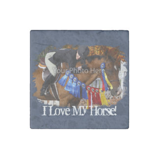 I Love My Horse Photo Template Stone Magnet