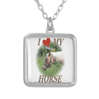 I love my horse silver plated necklace