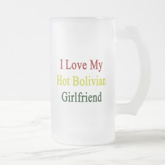 I Love My Hot Bolivian Girlfriend 16 Oz Frosted Glass Beer Mug