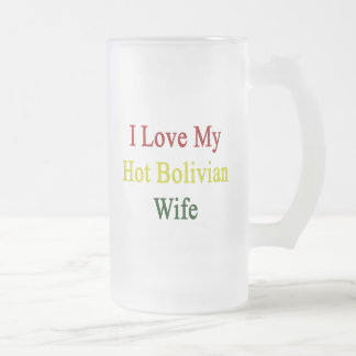 I Love My Hot Bolivian Wife 16 Oz Frosted Glass Beer Mug