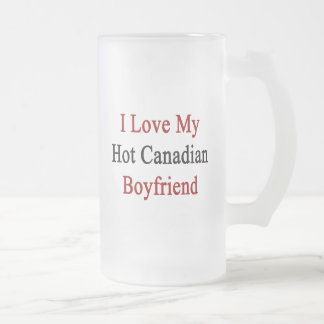 I Love My Hot Canadian Boyfriend Frosted Glass Beer Mug
