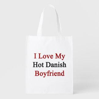 I Love My Hot Danish Boyfriend Reusable Grocery Bag