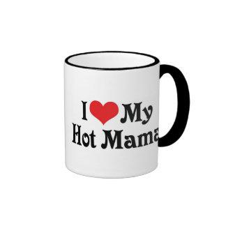 I Love My Hot Mama Ringer Coffee Mug