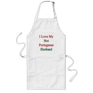 I Love My Hot Portuguese Husband Long Apron