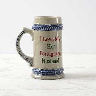 I Love My Hot Portuguese Husband 18 Oz Beer Stein