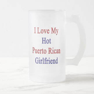I Love My Hot Puerto Rican Girlfriend 16 Oz Frosted Glass Beer Mug