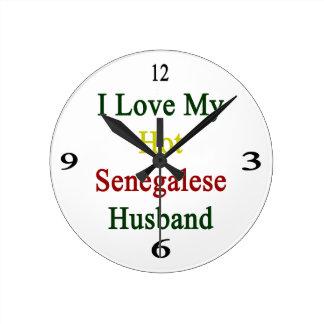 I Love My Hot Senegalese Husband Round Clocks