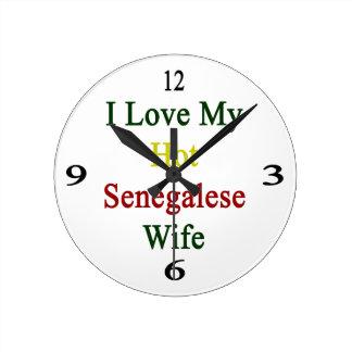 I Love My Hot Senegalese Wife Round Wallclocks