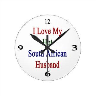 I Love My Hot South African Husband Round Wallclocks