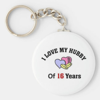 I love my Hubby of 16 years. Basic Round Button Keychain