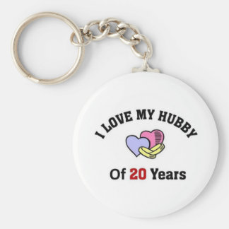 I love my hubby of 20 years basic round button keychain