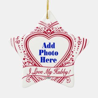 I Love My Hubby! Photo Red Hearts Christmas Ornament