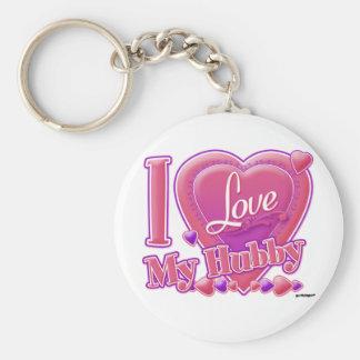 I Love My Hubby pink/purple - heart Basic Round Button Keychain