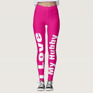 I Love My Hubby Pink White Cute Girly Chic Leggings