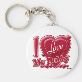 I Love My Hubby red - heart Basic Round Button Keychain