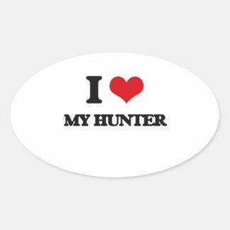 I Love My Hunter Oval Sticker