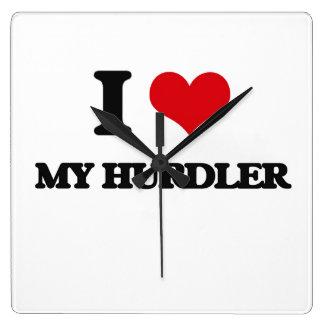 I Love My Hurdler Square Wall Clock