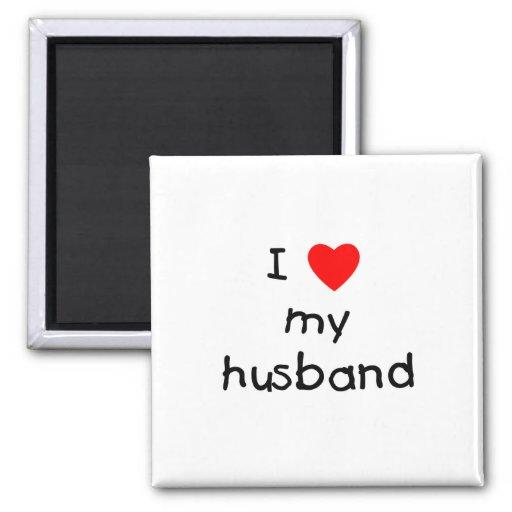 I Love My Husband 2 Inch Square Magnet