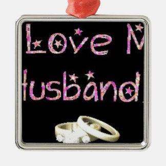 I love my husband alot square metal christmas ornament